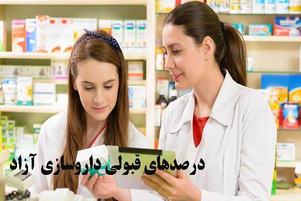 درصدهای قبولی داروسازی آزاد